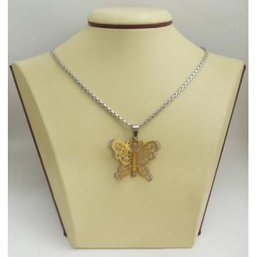 Стоманен медальон пеперуда 2527