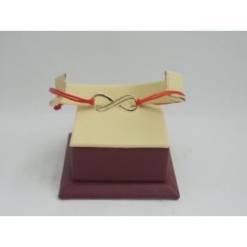 Златна регулираща се гривна с червен конец и златна безкрайност 2711