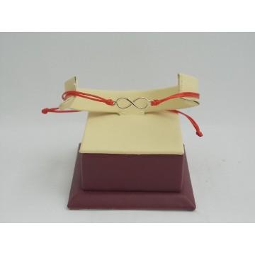 Златна регулираща се гривна с червен конец и златна безкрайност 2714