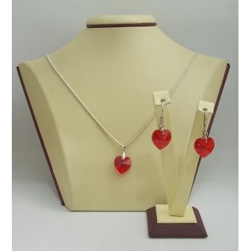 Дамски сребърен комплект Червени Сърца 2719