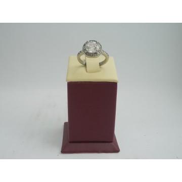 Стоманен пръстен с бели камъни 2731