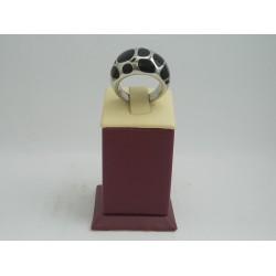 Стоманен пръстен бяла стомана и черни камъни 2735