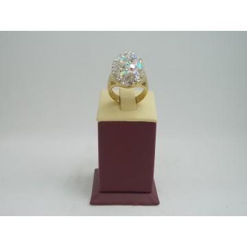 Стоманен дамски пръстен с камъни хамелеон 2736