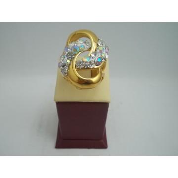 Стоманен пръстен с бели камъни 2742