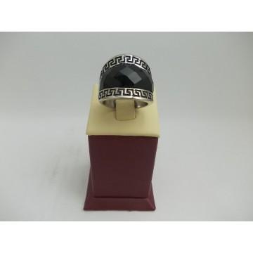 Стоманен пръстен с черен камък 2746