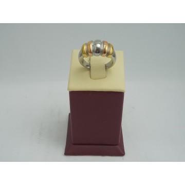 Стоманен дамски пръстен трицветен 2748