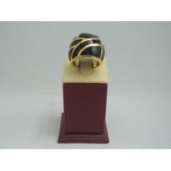 Стоманен пръстен жълта стомана и черни камъни 2750