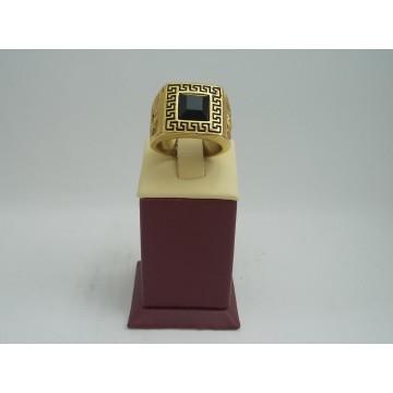 Стоманен пръстен с черен камък 2751