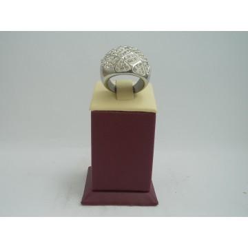 Стоманен пръстен бяла стомана бели камъни 2754