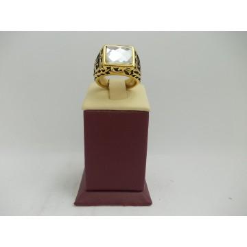 Стоманен пръстен жълта стомана бял камък 2756