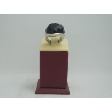 Стоманен пръстен бяла стомана и черен камък 2757