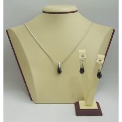 Дамски сребърен комплект с черни кристали Swarovski 2758