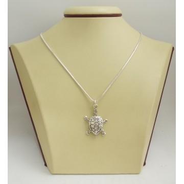 Дамски сребърен медальон костенурка 2880