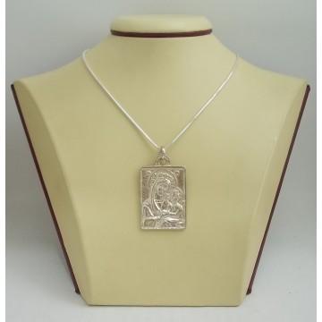 Сребърен плътен медальон Богородица 2889