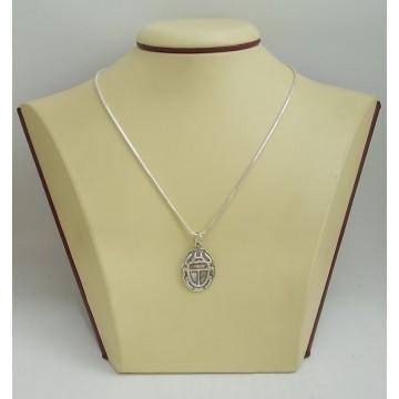 Сребърен медальон Скарабей тъмно сребро 2890