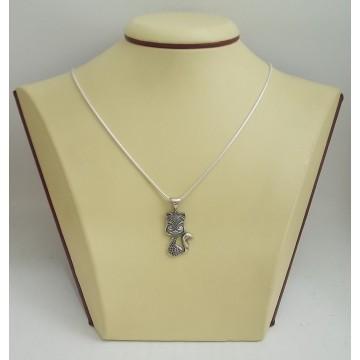Сребърен медальон котка 2913