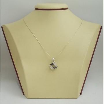 РАЗПРОДАЖБА -40% Сребърен медальон с черни и бели камъни 2963