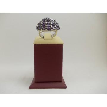 РАЗПРОДАЖБА -42% Сребърен пръстен с лилави циркони 2996