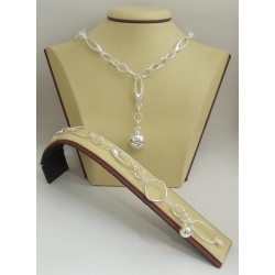 Дамски сребърен комплект - Мирела Стилето Топче 3065