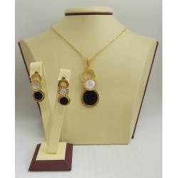 Стоманен комплект жълта стомана обеци и медальон 3198