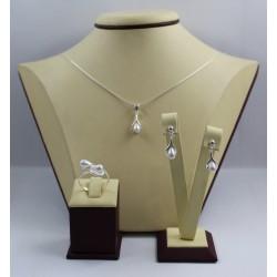 Дамски сребърен комплект със синтетични бели перли