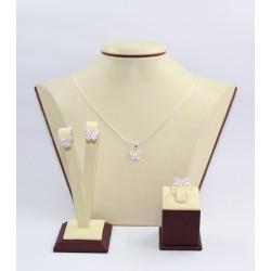 Дамски сребърен комплект с бели камъни Пеперуда обеци пръстен медальон