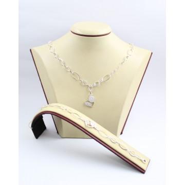 Дамски сребърен комплект със сърца и бели камъни колие гривна 3342