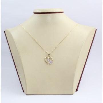 Дамско златно колие със сърце жълто злато и бели камъни 3346