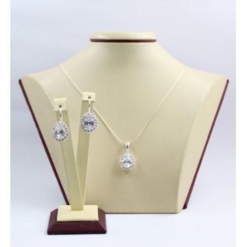 Дамски сребърен комплект с бели камъни Принцеса обеци медальон