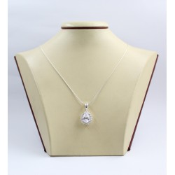 Дамски сребърен медальон с бели камъни Принцеса 3379