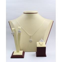 Дамски сребърен комплект с бели камъни Блясък обеци пръстен медальон