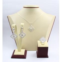 Дамски сребърен комплект с бели камъни Баронесата обеци пръстен медальон