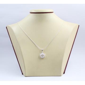 Дамски сребърен медальон с бели камъни 3419