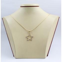 Дамско златно колие със златен медальон звезда с камъни 3432