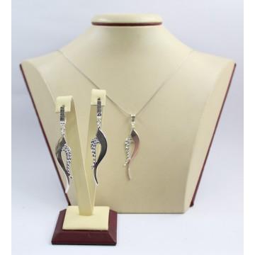 Дамски сребърен комплект обеци и медальон 3441