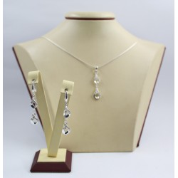 Дамски сребърен комплект с бели камъни обеци медальон 3506