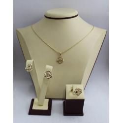 Дамски златен комплект Рози пръстен обеци медальон