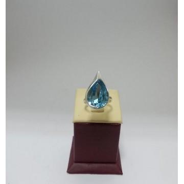 Сребърен дамски пръстен със Swarovski Elements - Аквамарин Сълза