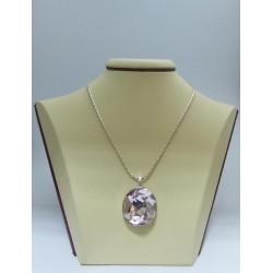 Сребърен медальон със Swarovski Elements Разкош Бледа Роза