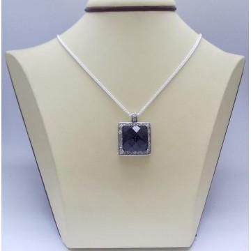 Сребърен дамски медальон - Авантюрин