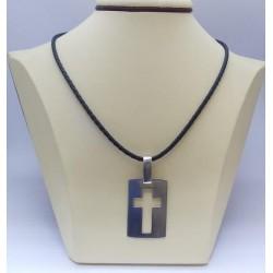 Сребърен дамски медальон - Кръст на плочка