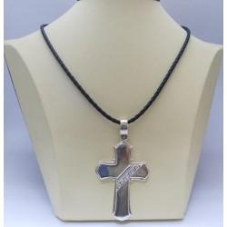 Сребърен дамски кръст с бели циркони