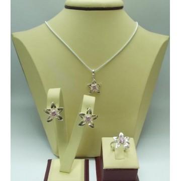 Дамски сребърен комплект - Розова Прелест