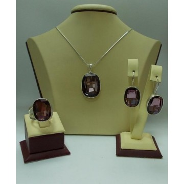 Сребърен дамски комплект със Swarovski Elements Лила