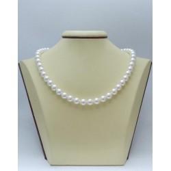 Сребърно дамско колие с бели перли Swarovski Elements