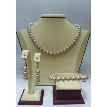 Сребърен дамски комплект с розови перли Swarovski Elements
