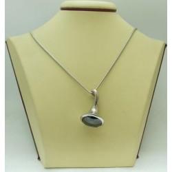 Дамски сребърен медальон Черен Саксофон