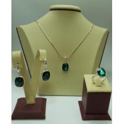 Сребърен дамски комплект с кристали Swarovski Elements