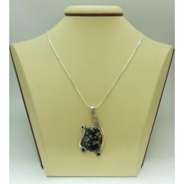 Дамски сребърен медальон със снежинков оксидиан