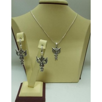 Дамски сребърен комплект - Сова